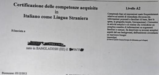 Migranti: competenze acquisite in italiano come lingua straniera